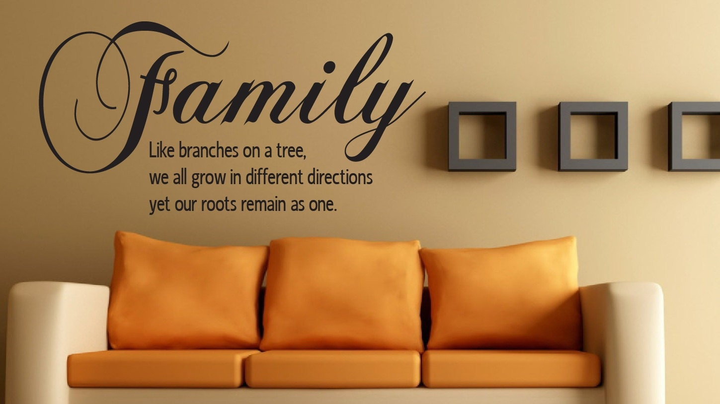 Wall quote family like branches on a tree 20x30 for Decor quotations