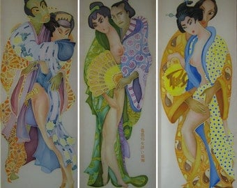 Batik painting,triptych  - Love inclination- Made to order