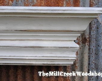 """Distressed Wall Shelf 60"""" Fireplace Mantel Farmhouse Entryway Mudroom Floating Crown Molding Ledge Mantle Rustic Home Barn Decor"""