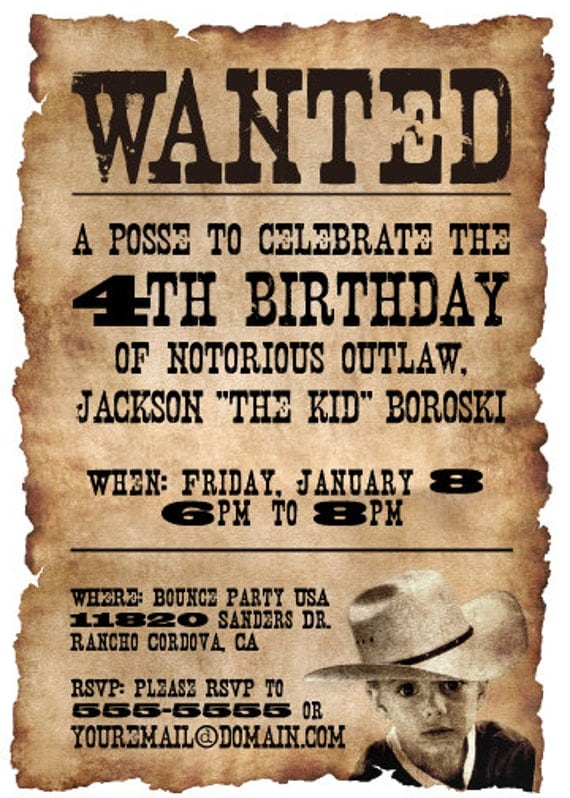 Printable wanted poster western themed birthday party by ...