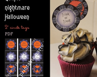 "Gothic nightmare Halloween 2"" circle labels - PDF"