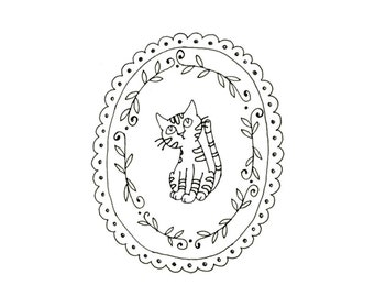 Cat Embroidery Pattern Kitty Digital Downloadable PDF Hand Embroidery 0089