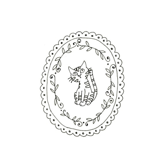 Cat Embroidery Pattern Kitty Digital Downloadable PDF Hand Embroidery
