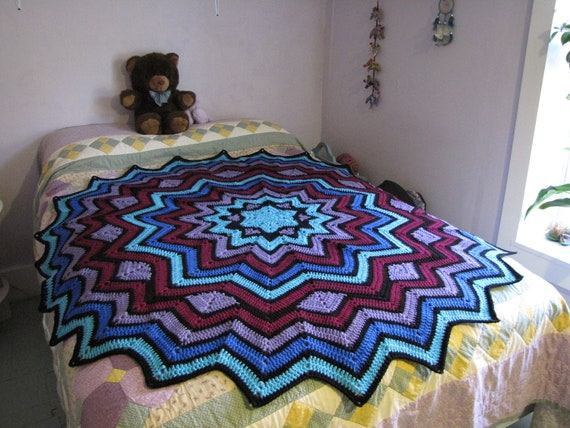Beautiful Stained Glass Round Ripple Afghan 6ft By