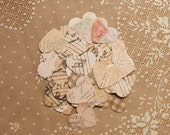 Vintage Parchment Paper Heart Confetti - Wedding, Valentines, Romantic (100 count)