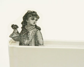 Girl with flower bookmark, image from old Italian newspaper dated 1880