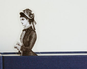 Victorian bookmark lady with the pretty hat