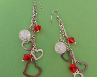Silver hearts and Swarovski crystals earrings