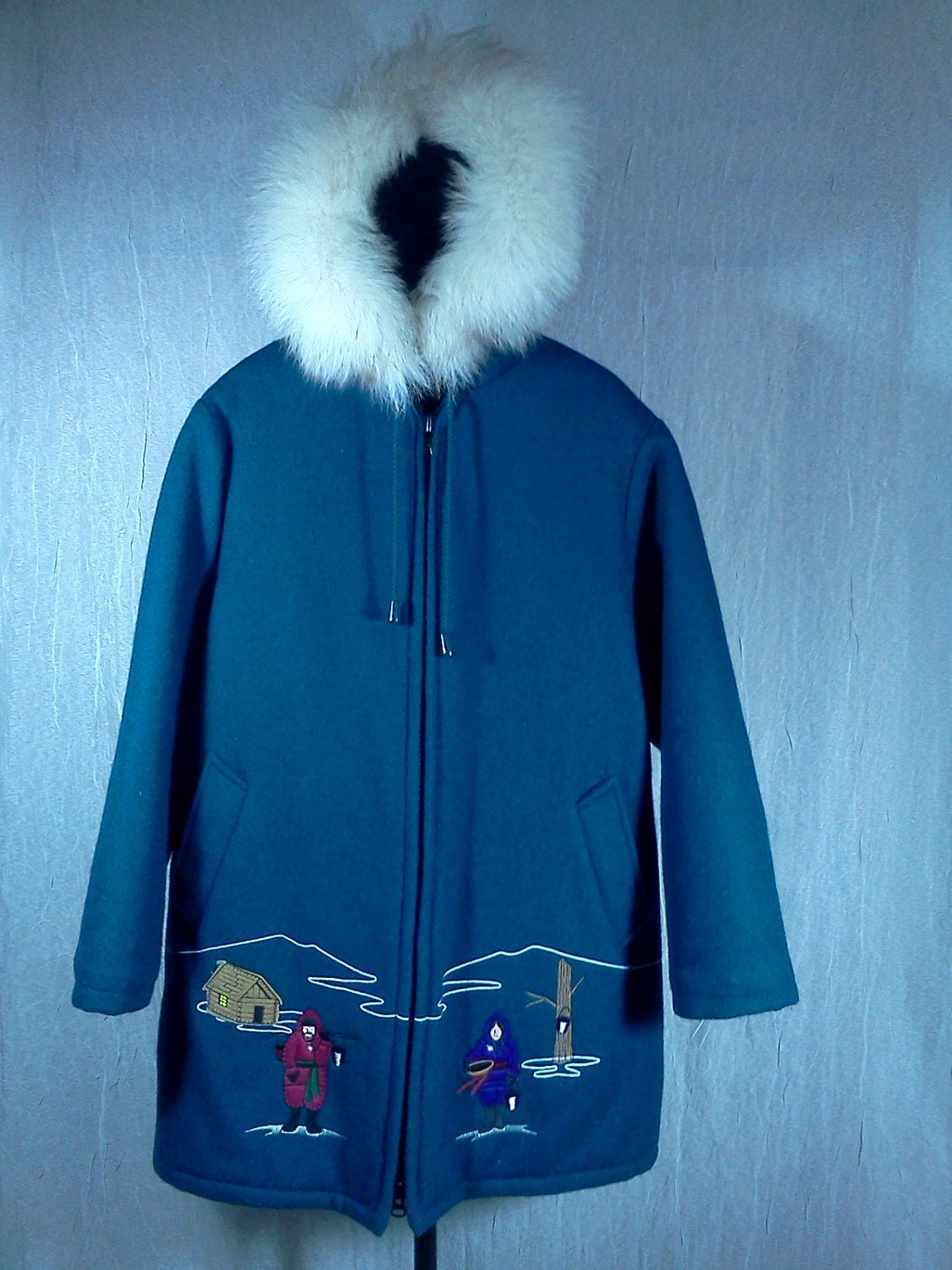 Vintage Inuit Eskimo Parka Wool Jacket Emroidered Fur Trim
