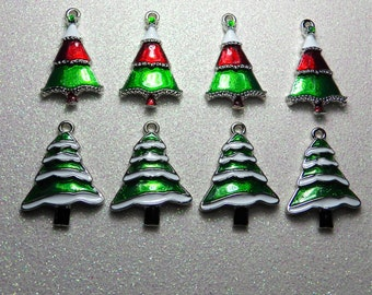 2 Enamel Tibetan-Silver Snowy Evergreen & Christmas Tree Charms