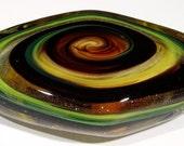 MURANO Art Glass PAPERWEIGHT Diamond Swirl AVENTURINE Copper Dust