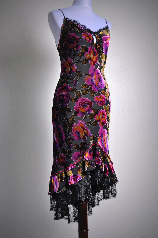Sale Betsey Johnson Floral Velvet Burnout Dress Perfect
