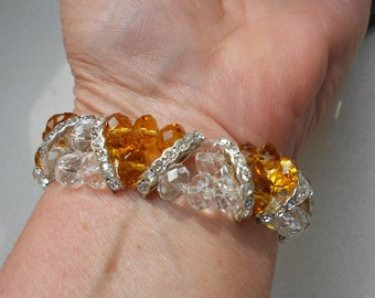 vintage bracelet in crystal glass 1980s beaded stretch topaz and rhinestone spacers