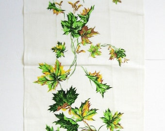 Vintage Linen Tea Towel - Canada Maple Leaf Print Wall Hanging - Unused Tea Towel - Canadian Kitchen Wall Decor - Green Leaf Print Towel