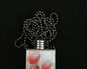 Red Roses Scrabble Tile pendant necklace on ball chain
