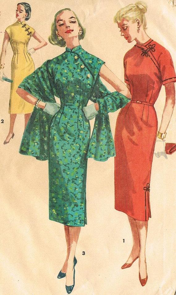 Simplicity 1447 Junior 1950s Cheongsam Dress Pattern Asain