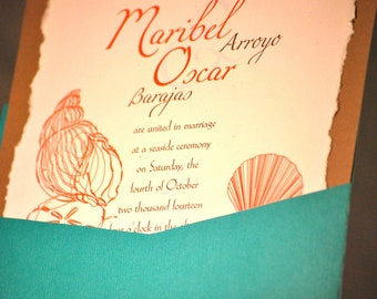 Turquoise, Coral Beach Theme Wedding Invitation
