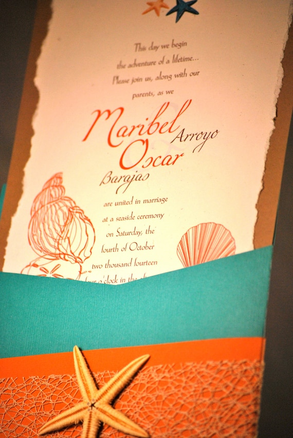 turquoise, coral beach theme wedding invitation by outtheboxcreative, Wedding invitations