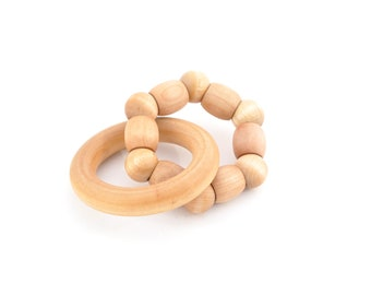 Wooden Teething Ring - Natural Organic Baby Teether - Waldorf Wood Baby Toy (C)