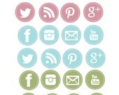 Stitched Social Media Icons Digital Clipart
