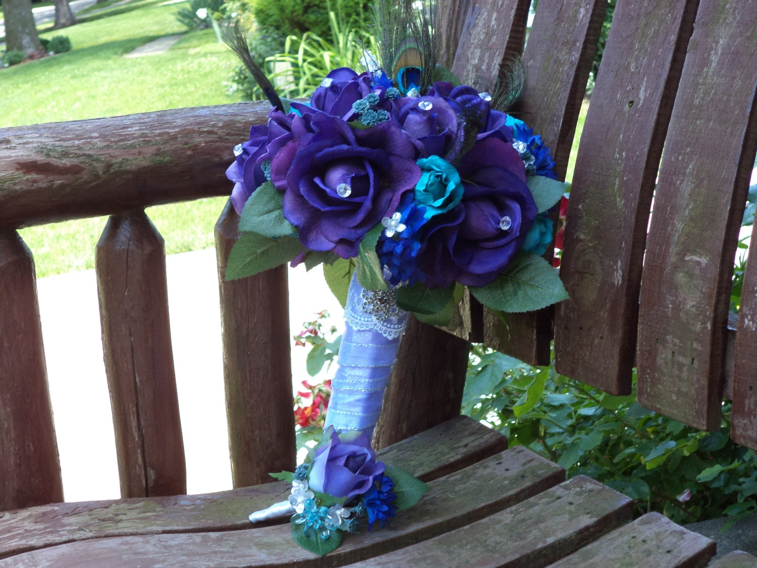 Teal And Purple Wedding Ideas: Peacock Bridal Bouquet / Teal And Purple Real Touch Silk