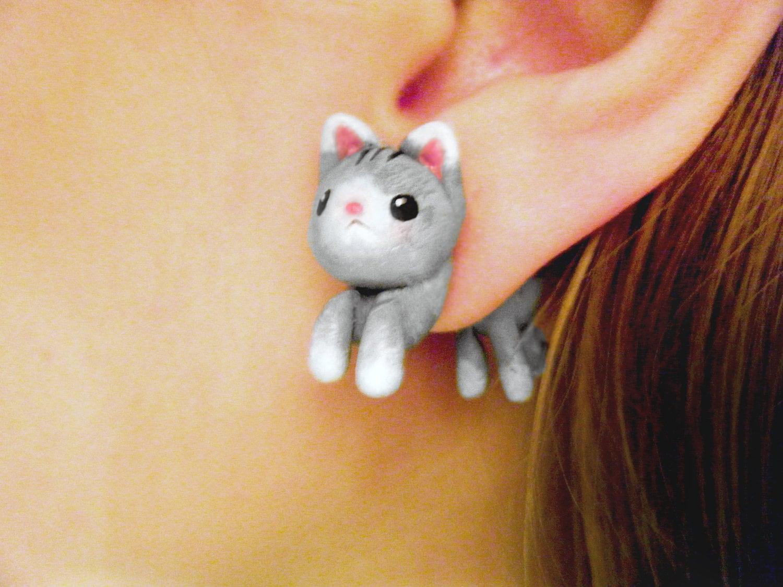 Cute Kitten Fake Plugs Earrings 🔎zoom