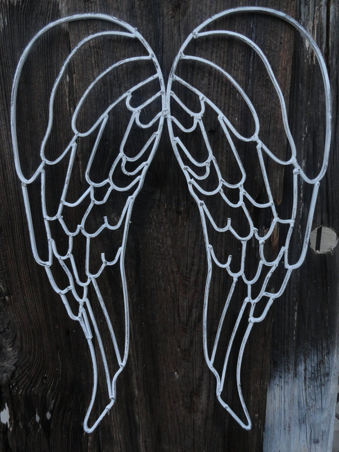 Angel wings metal wall decor wrought iron wings distressed for Angel wall decoration