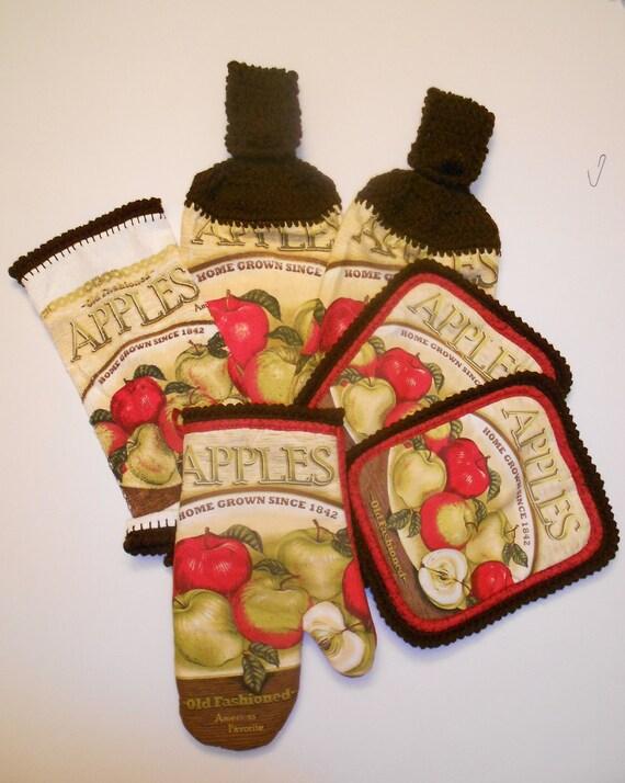 Kitchen Set Apple Set Crochet Towels Pot Holder Oven Mitt