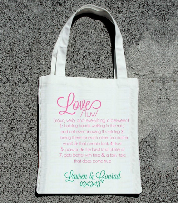 Reserved listing for JD -Love Definition Tote- Wedding Welcome Tote Bag