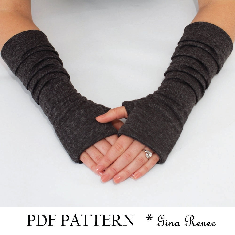 Fingerless gloves cotton - Fingerless Gloves Pattern With Pleats Pdf Glove Sewing Pattern
