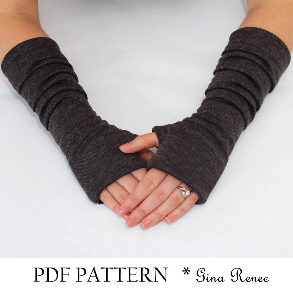 Mens gloves no fingers - Fingerless Gloves Pattern With Pleats Pdf Glove Sewing Pattern