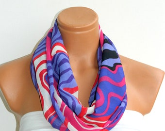 Scarves,Purple,Pink,White Infinity Scarf,Loop Scarf,Circle Scarf, Striped Chiffon Scarf,Cowl Scarf,Nomad Cowl.... Multicolor, Eternity Scar