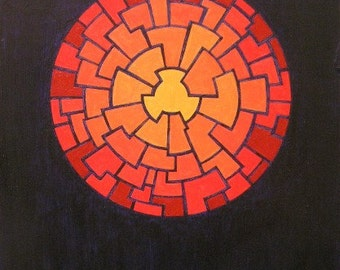 "Fireball   8-1/2"" x 10-1/2"" x 1/8"" abstract acrylic painting on masonite"