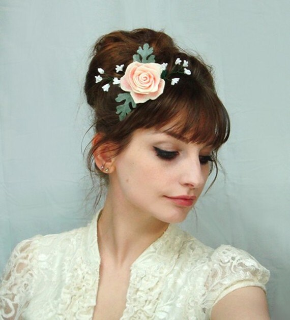 Baby S Breath In Hair: Hair Clip Rose Baby's Breath Dusty Miller Floral
