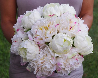 Wedding Natural Touch Blush Pink and White Peony Silk Flower Bride Bouquet - Almost Fresh