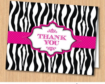 Zebra Print Pink Ribbon Printable Thank You Card, Instant Download JPG (not editable)