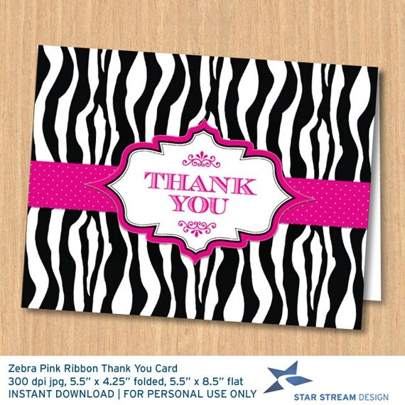 Zebra Print Pink Ribbon Printable Thank You Card Instant