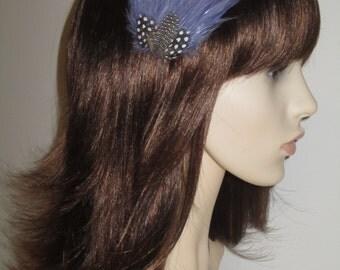 Grey Purple Feather Fascinator HAIR CLIP Bridesmaids Hair Accessory Handmade Wedding 'Gwen'