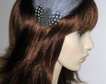 Silver Grey Fascinator HAIR CLIP Bridesmaids Hair Accessory Handmade Black White Wedding Headpiece 'Gwen'