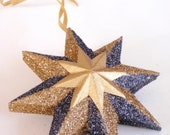 Christmas star ornament gold and black - Classic handmade star ornament - tree decoration
