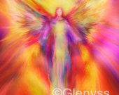 ARCHANGEL URIEL Guardian Angel Painting, Large A3 Signed Giclee Print by Glenyss Bourne