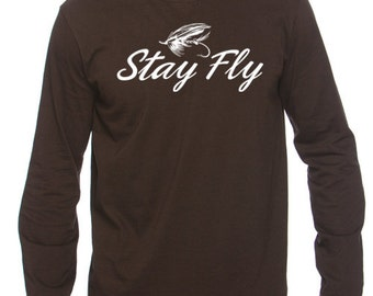 Stay Fly Fishing T-shirt For Men (Brown)