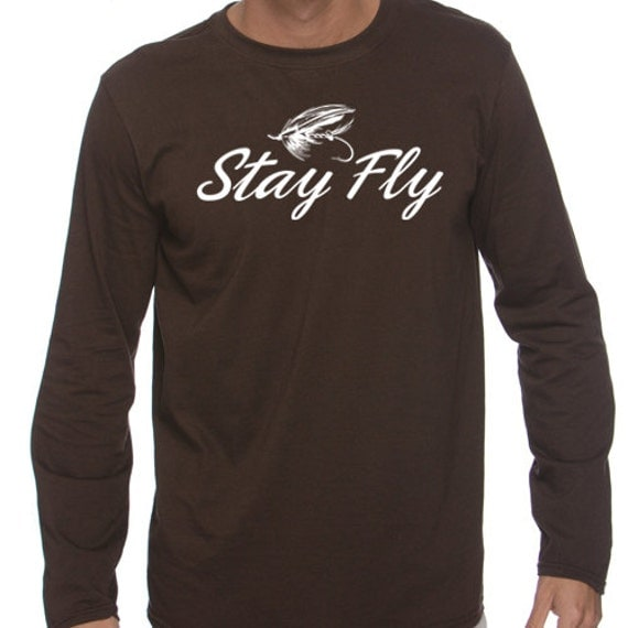 Items similar to stay fly fishing t shirt for men brown for Fly fishing shirt