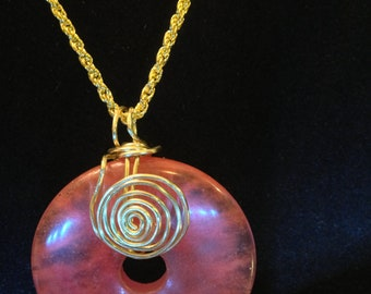 "1.5"" Cherry Quartz Donut Wire-Wrapped Pendant, 18"" Gold-Plated French Rope Chain"