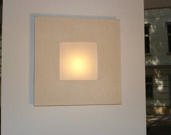 "Wall lamp ""Cordoba""  white satin matt or gray, dimensions: height 31cm,  width 31cm,  depth 7,5cm"