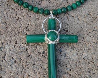 Multistrand Necklace, Gemstone Necklace, Multi stone Necklace and Malachite Cross