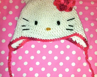 Crochet Kitty Earflap Hat - Newborn to Children Sizes Available