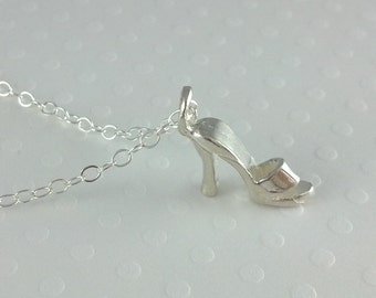 Sterling Silver High Heel Necklace- Sterling Silver Chain