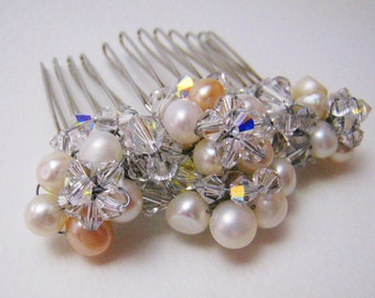 Pearl and Crystal Bridal Comb in Cream