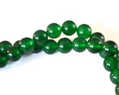 Natural Green Jade Round Gemstone Beads 8mm Full Strand 47 Beads